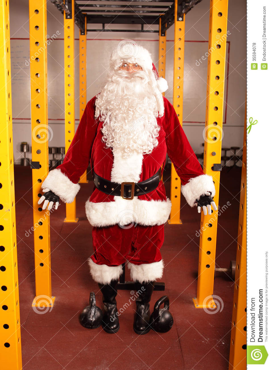 santa claus before christmas training in gym