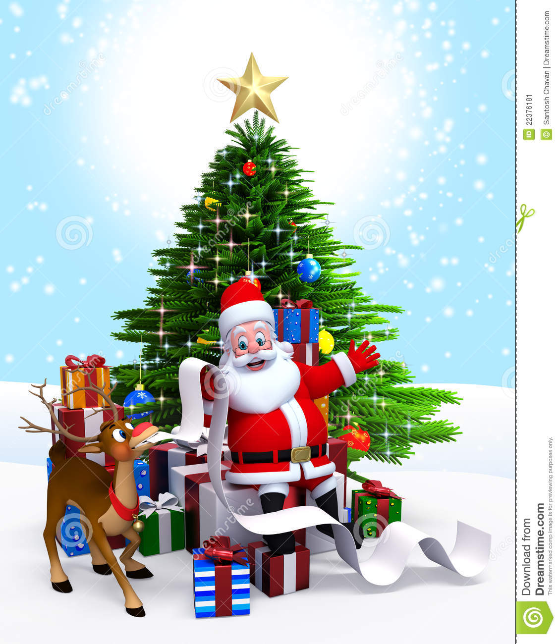 Stock Image: Santa Claus & Christmas tree with gift list. Image ...