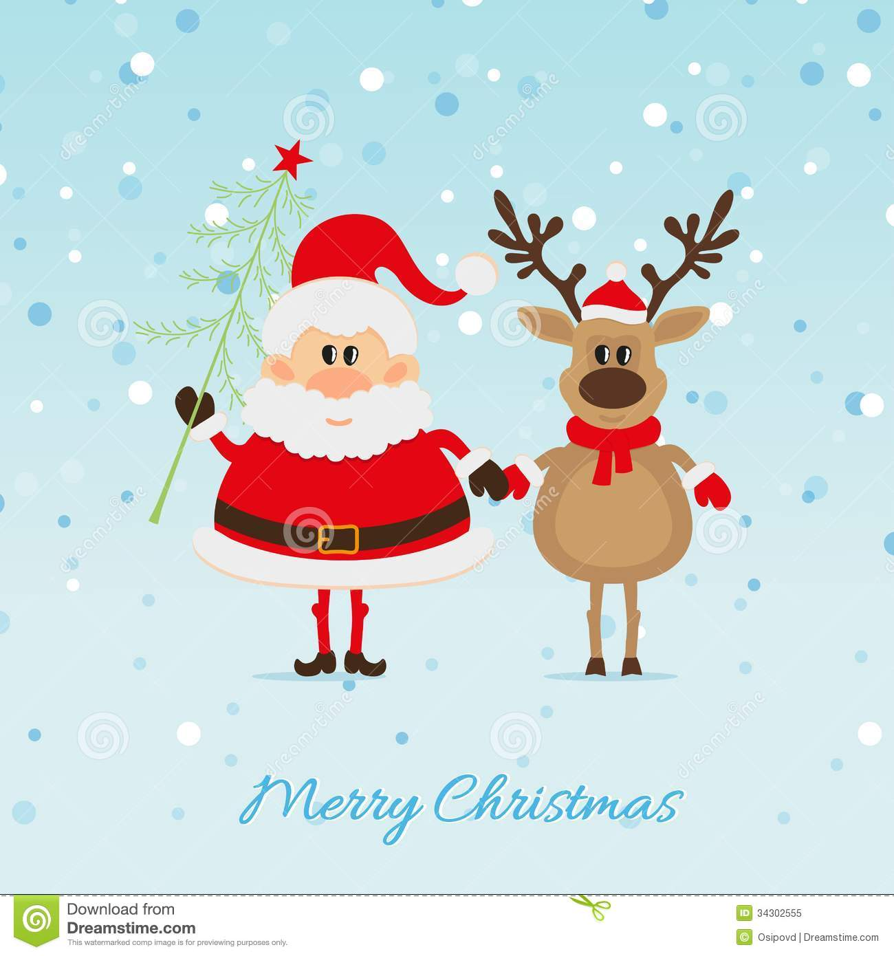 Santa Claus With Christmas Tree And Reindeer Royalty Free Stock ...