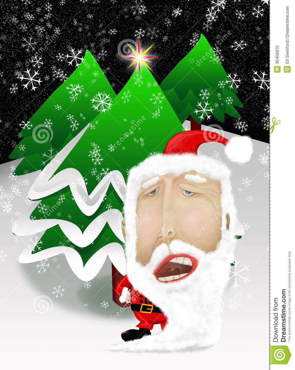 santa claus with christmas trees stock photo image 36406910
