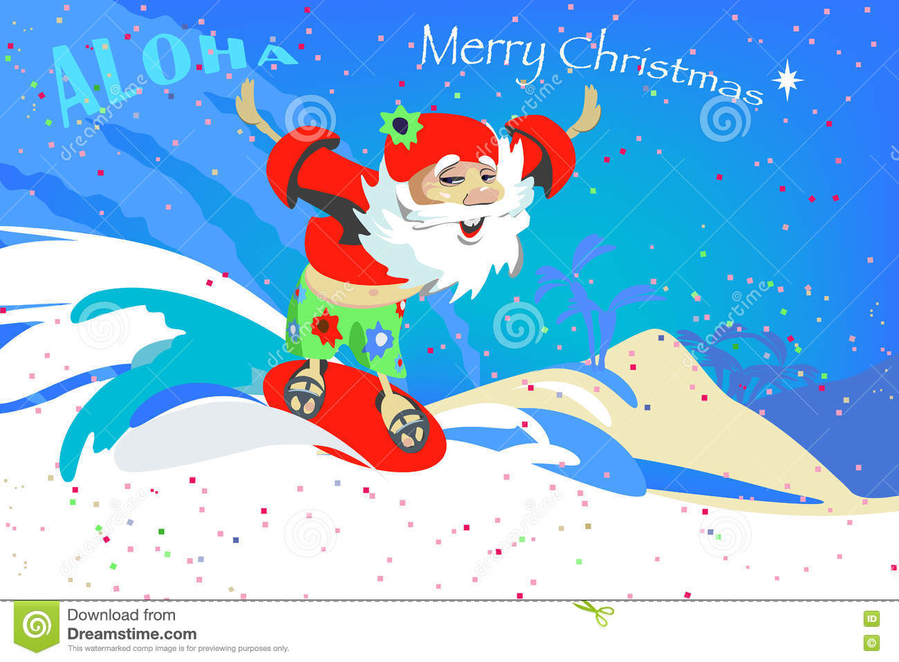 Santa Claus On Christmas Vacation Makes The Surfing Stock Vector ...