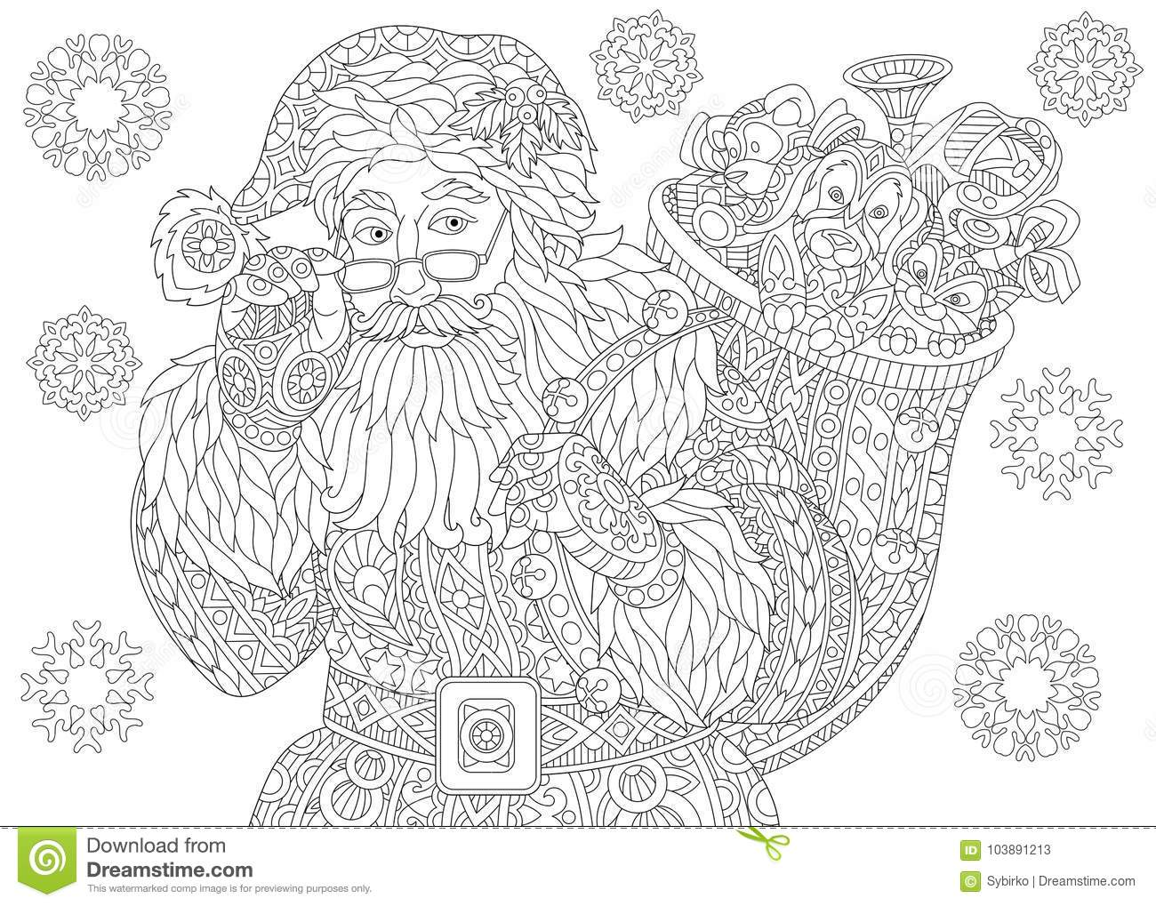 santa claus and christmas vintage snowflakes