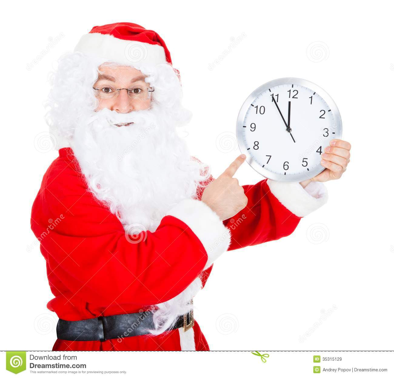 Santa Claus With Clock...