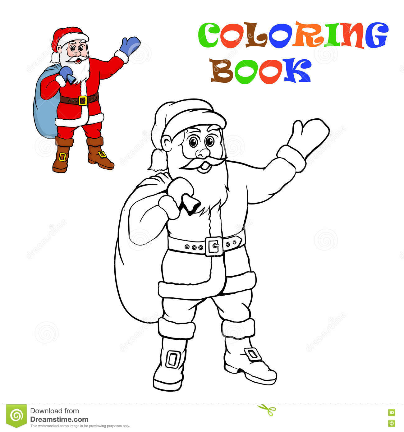 Santa Claus. Coloring For Kids. Stock Vector - Illustration of face ...