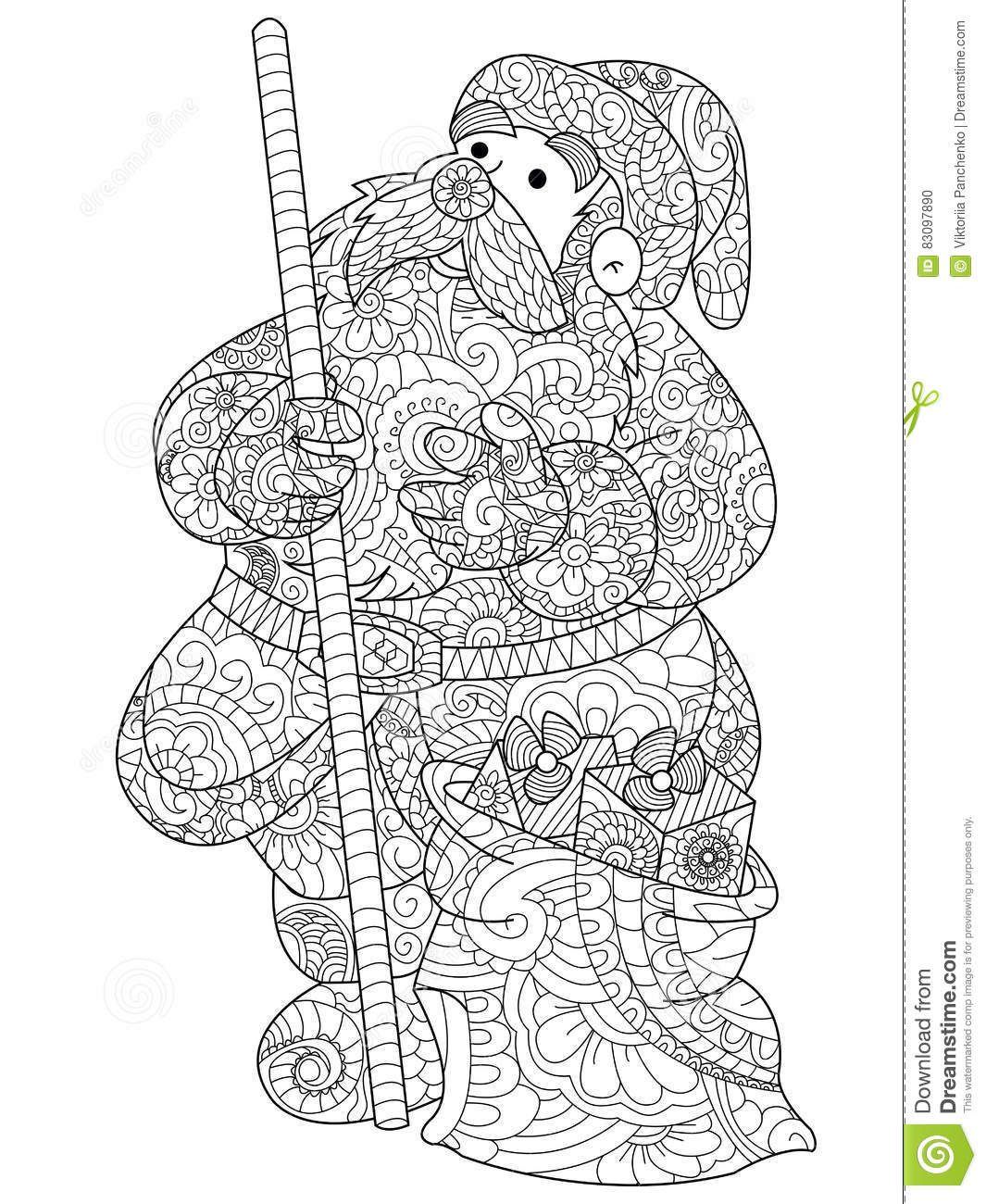 Santa Claus Coloring Vector For Adults Stock Vector - Illustration ...