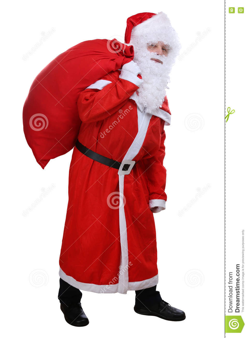 Santa Claus com o saco para os presentes do Natal isolados
