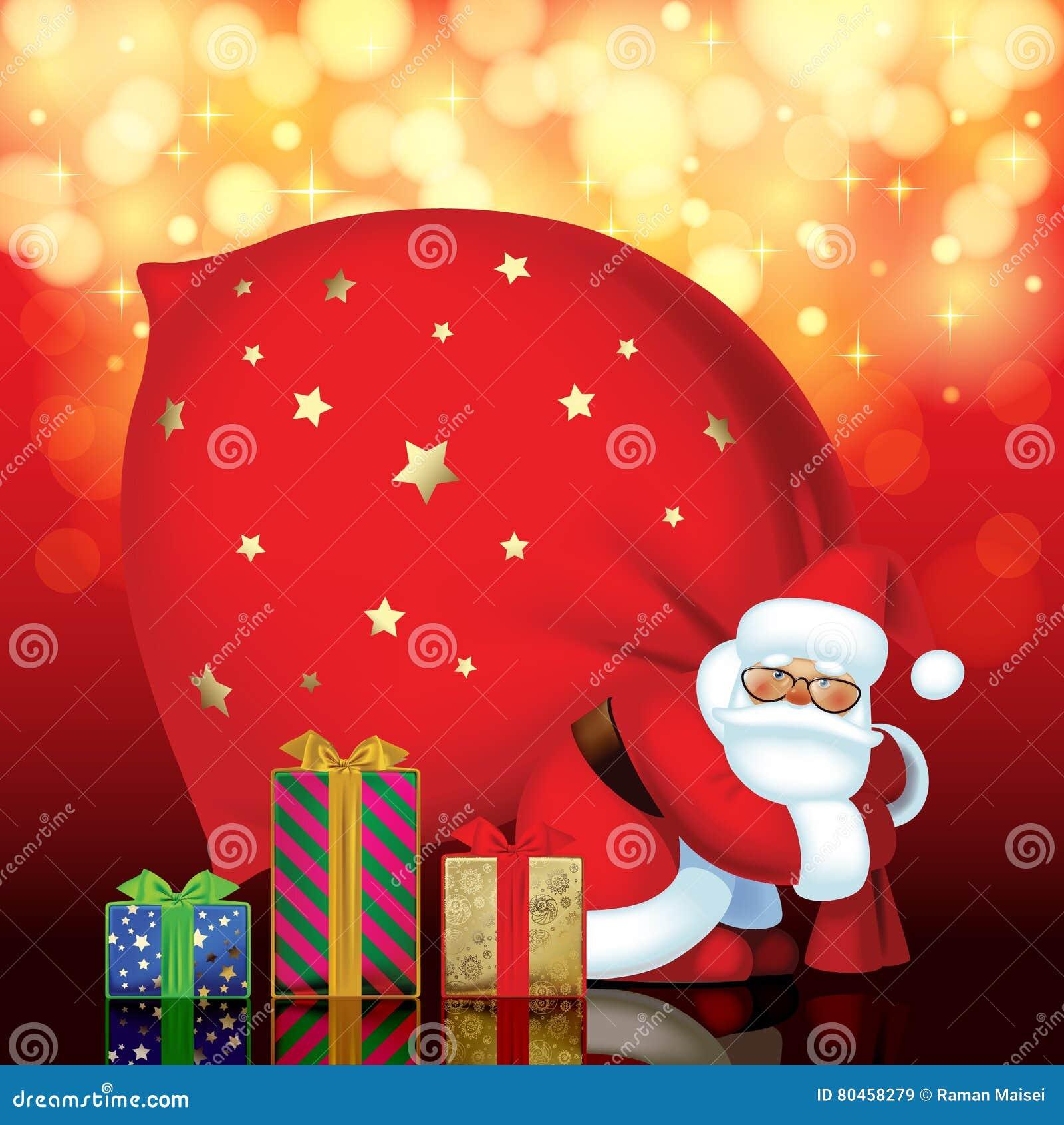 Santa Claus com saco e as caixas de presente vermelhos de cores diferentes e