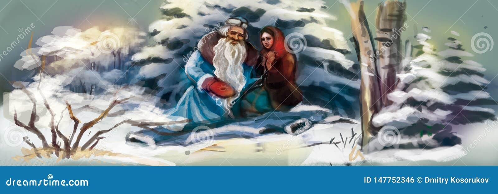 Santa Claus com uma menina na floresta do inverno
