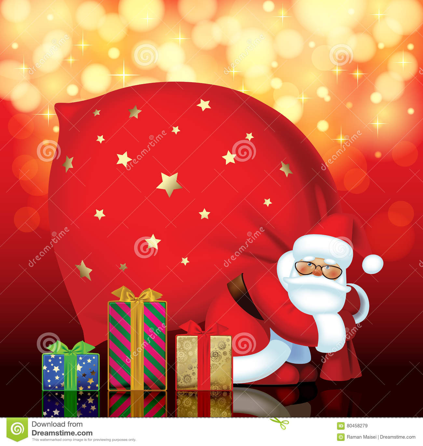 Santa Claus con las cajas rojas del saco y de regalo de diversos colores y