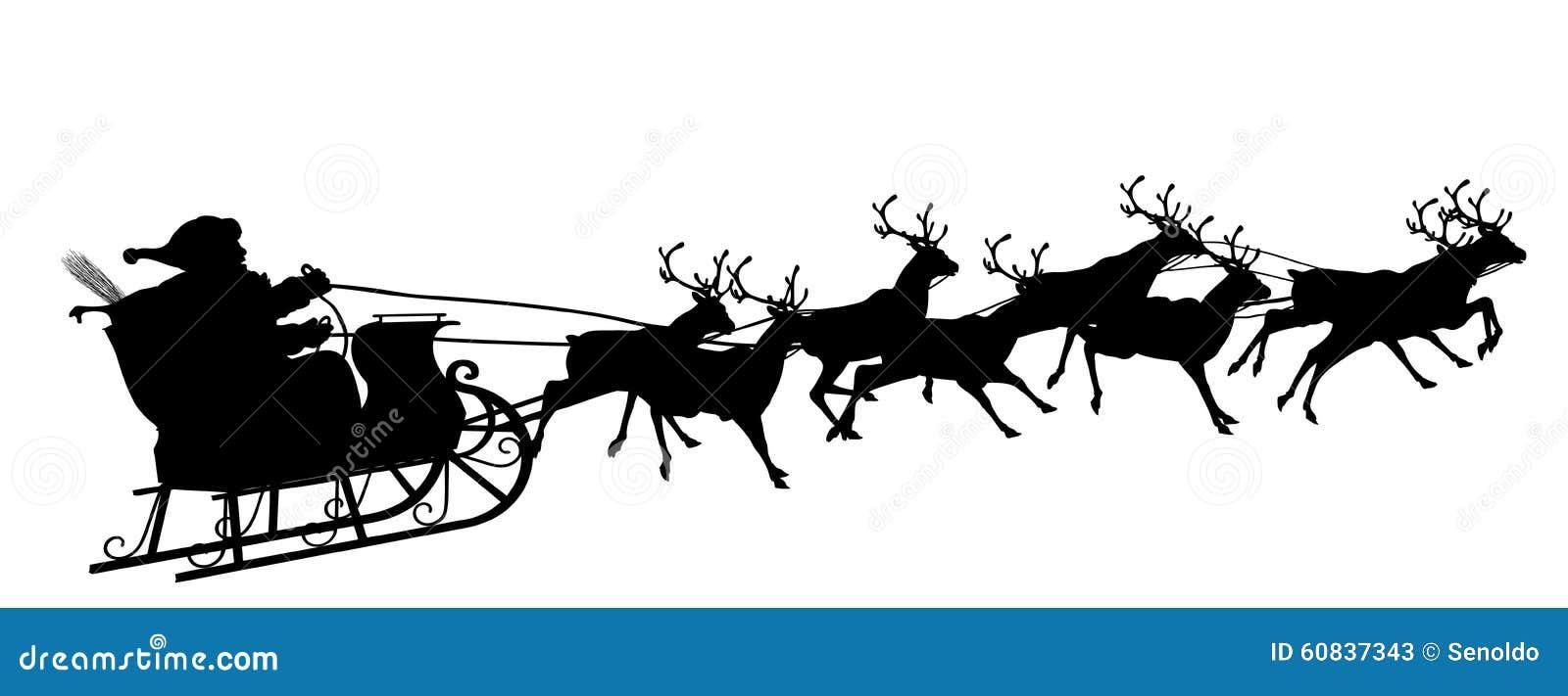 Santa Claus con símbolo del trineo del reno - silueta negra