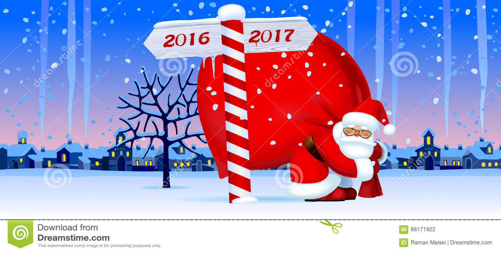 Santa Claus con una muestra del Año Nuevo