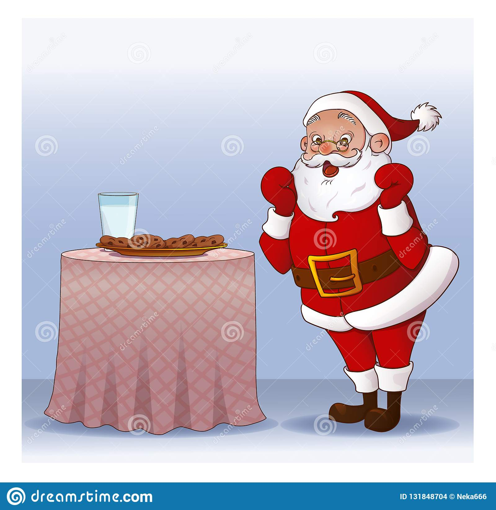 Santa Claus With Cookies And Glass Of Milk Stock Vector
