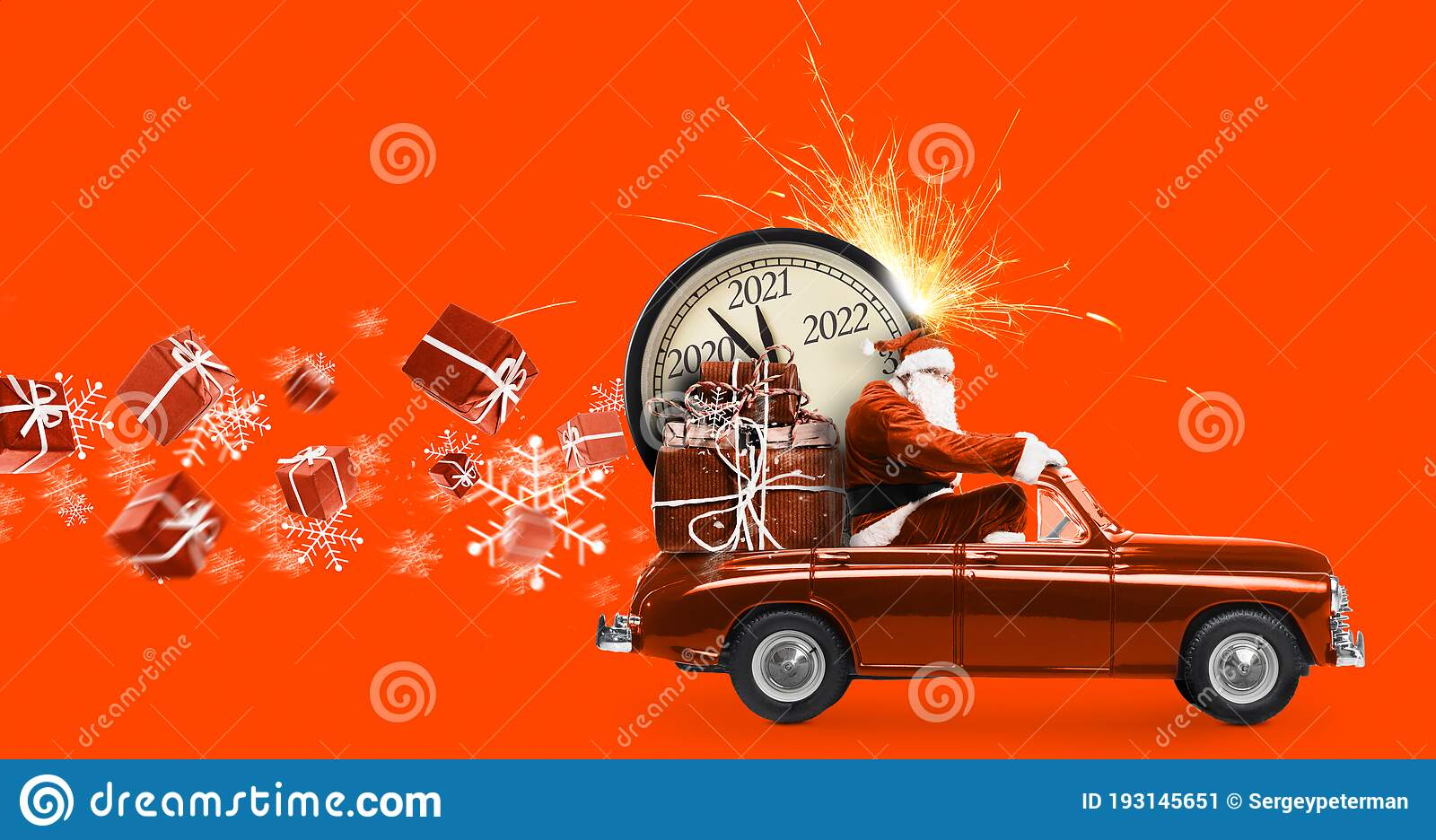 Orange Va Delivering Christmas Gift 2020 Santa Claus Countdown On Car Stock Image   Image of countdown