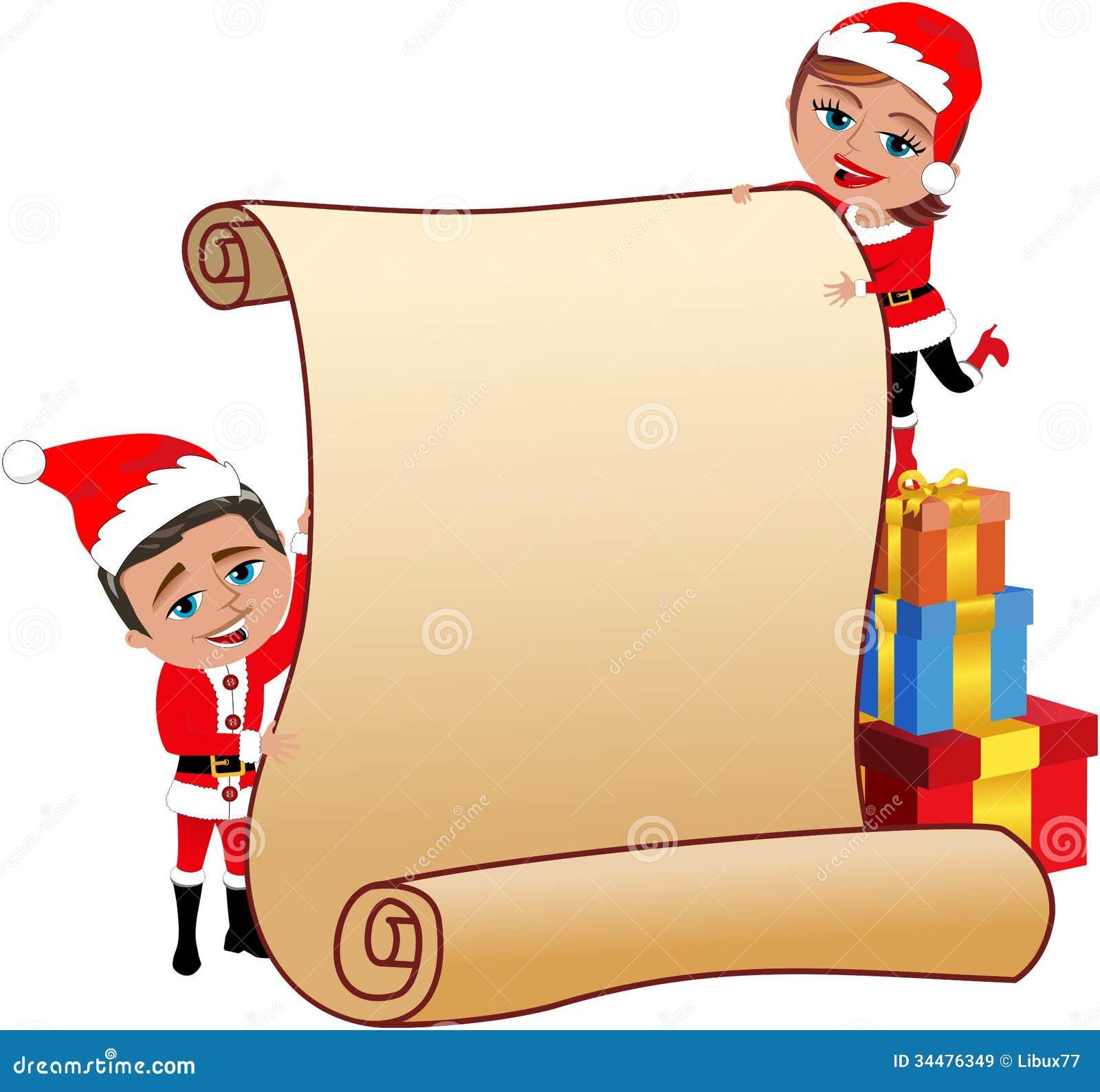 Santa Claus Couple Holding Blank Parchment
