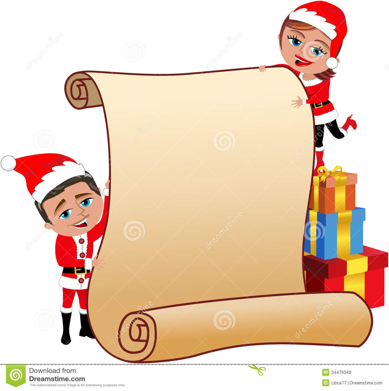 santa claus couple holding blank parchment royalty stock santa claus couple holding blank parchment
