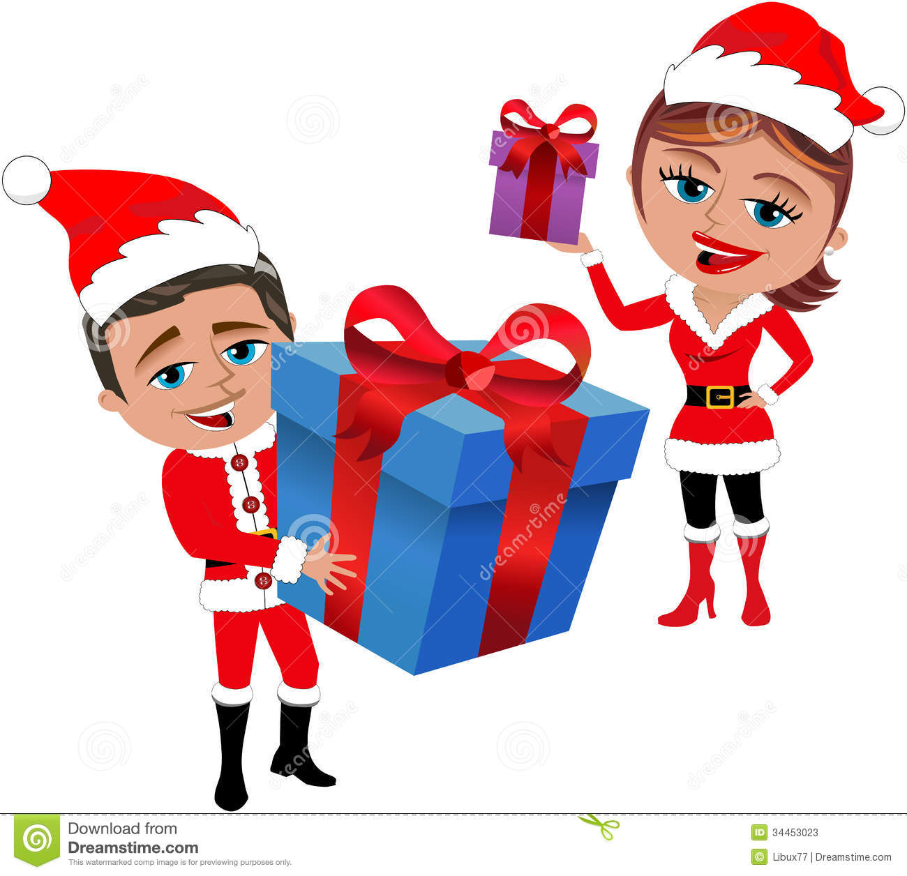 Santa Claus Couple Holding Gifts Stock Vector - Illustration of gift ...