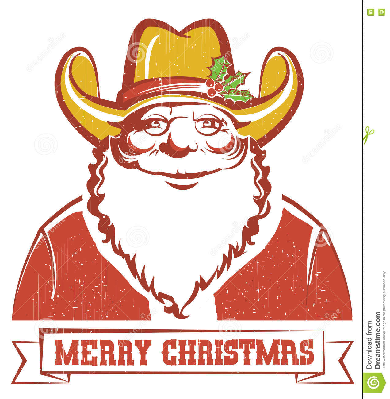 Santa Claus In Cowboy Hat On Old Paper With Text Stock Vector ...