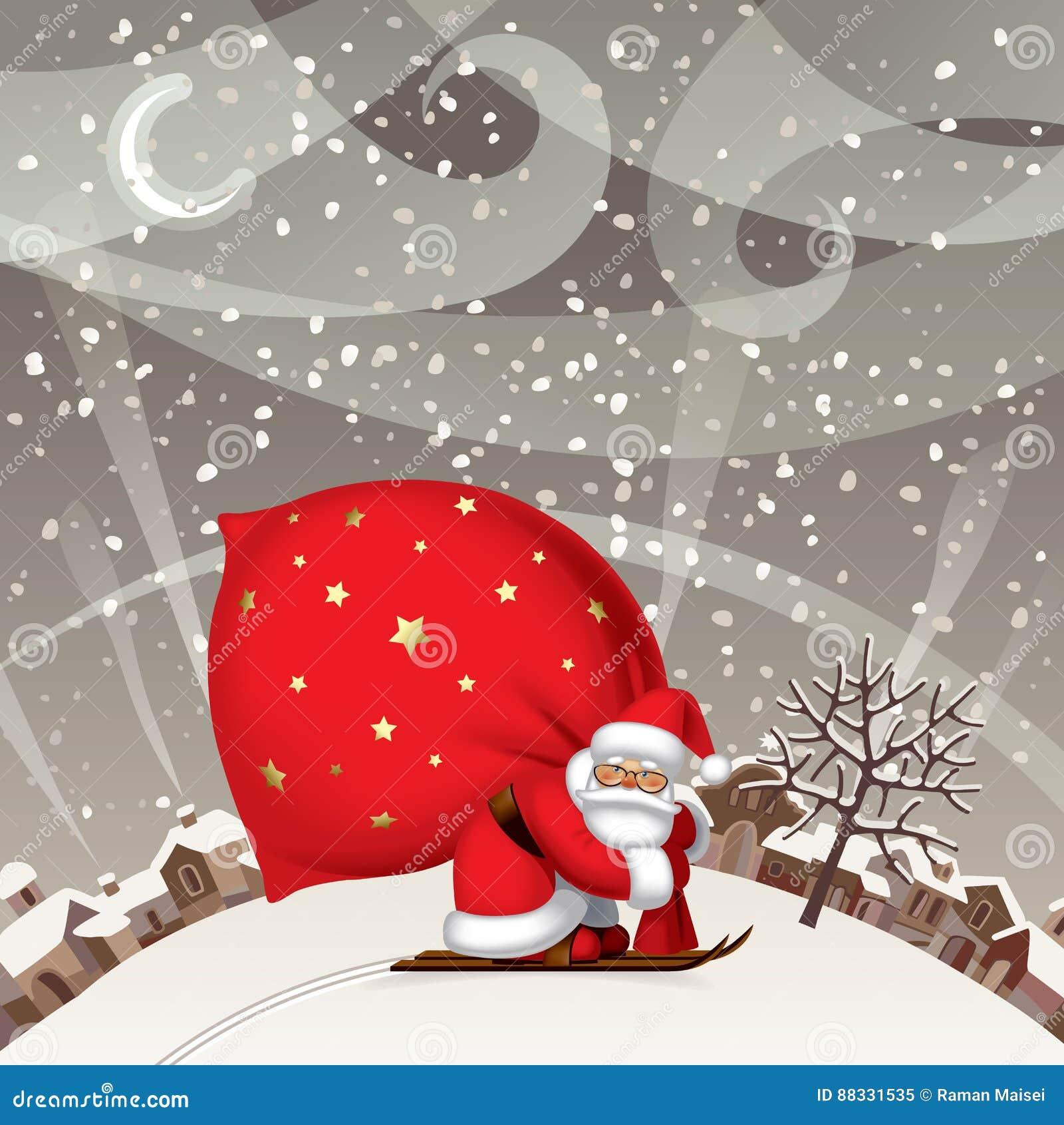 Santa Claus dallo sci con un grande sacco rosso contro il landsc di inverno