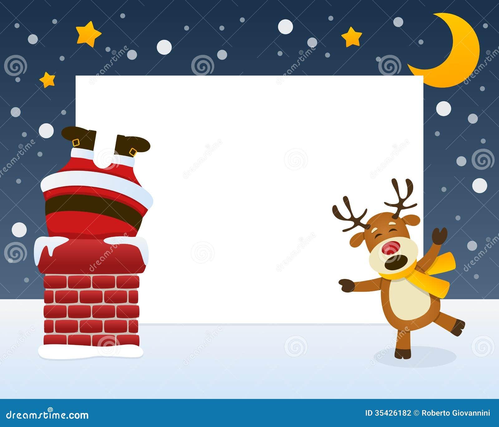 Santa Claus dans le cadre de cheminée