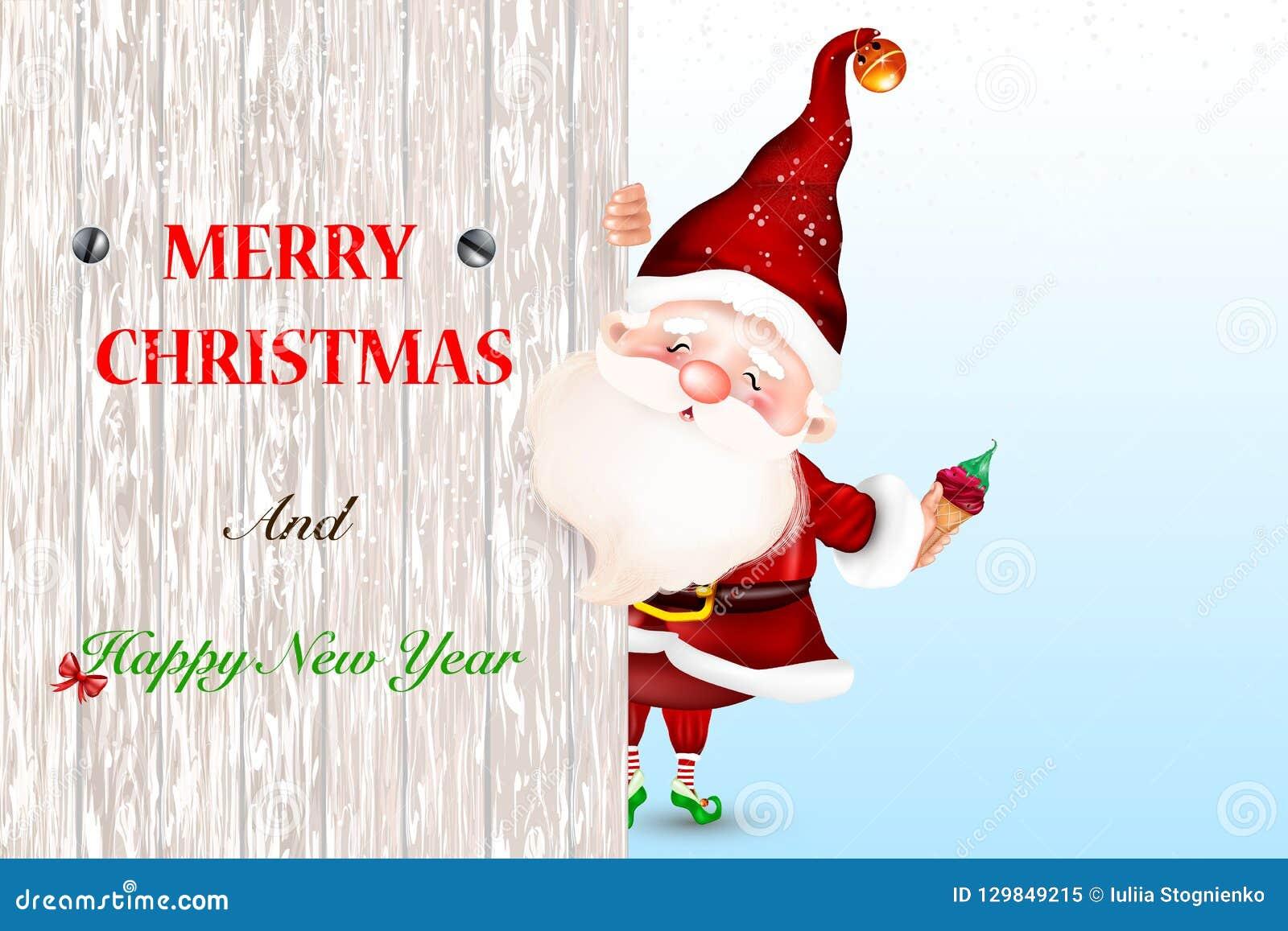 Santa Claus de sorriso feliz que está atrás de um sinal vazio, mostrando um grande sinal de madeira Cartão de Natal