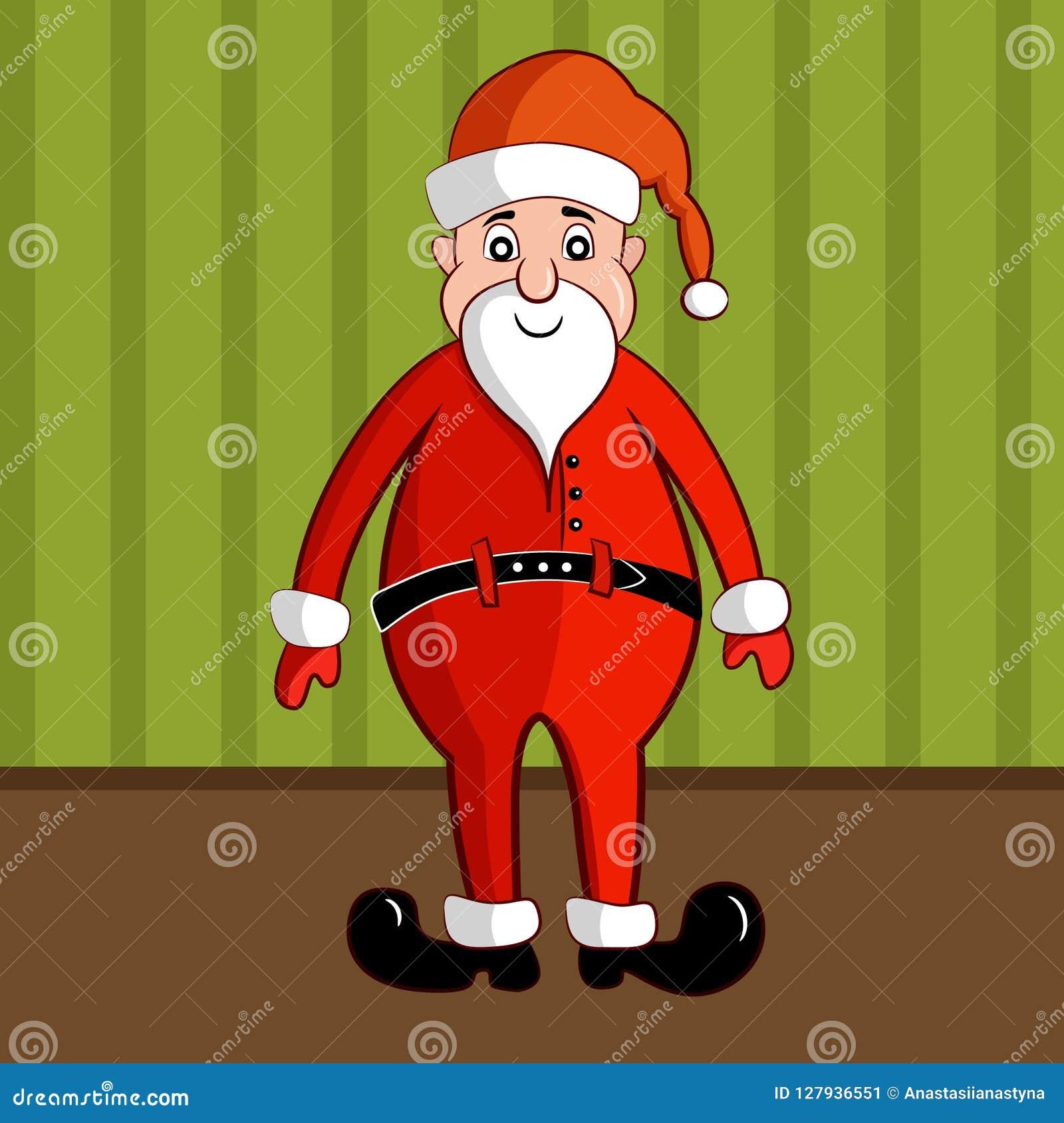 Santa Claus de sorriso no traje vermelho tradicional