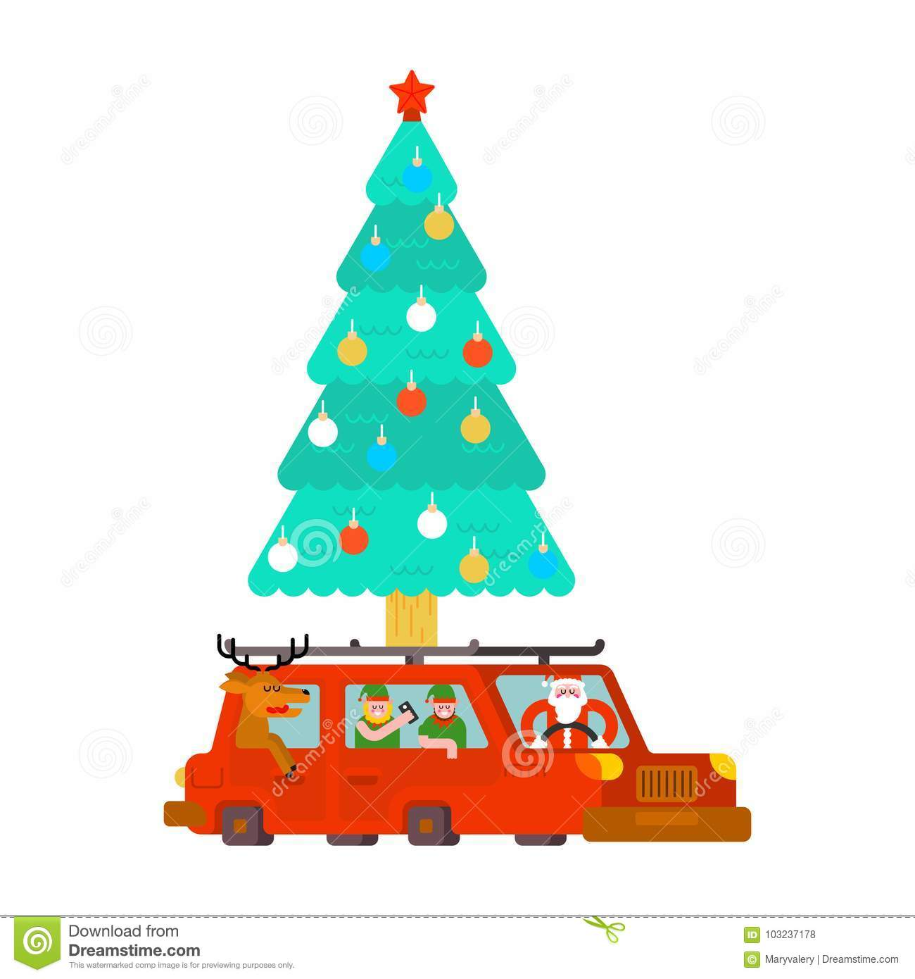 Santa Claus And Deer And Elf In Car Carry Christmas Tree And Gi
