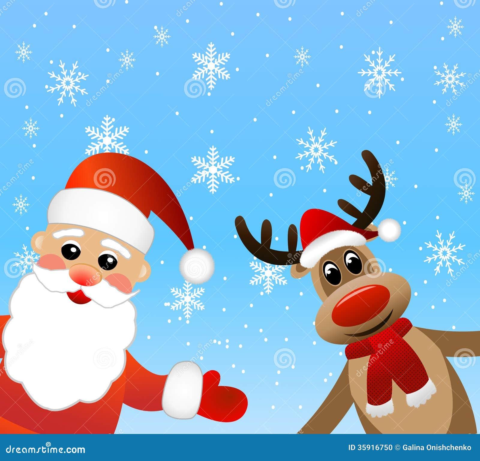 Santa Claus And Deer Stock Photo Image 35916750
