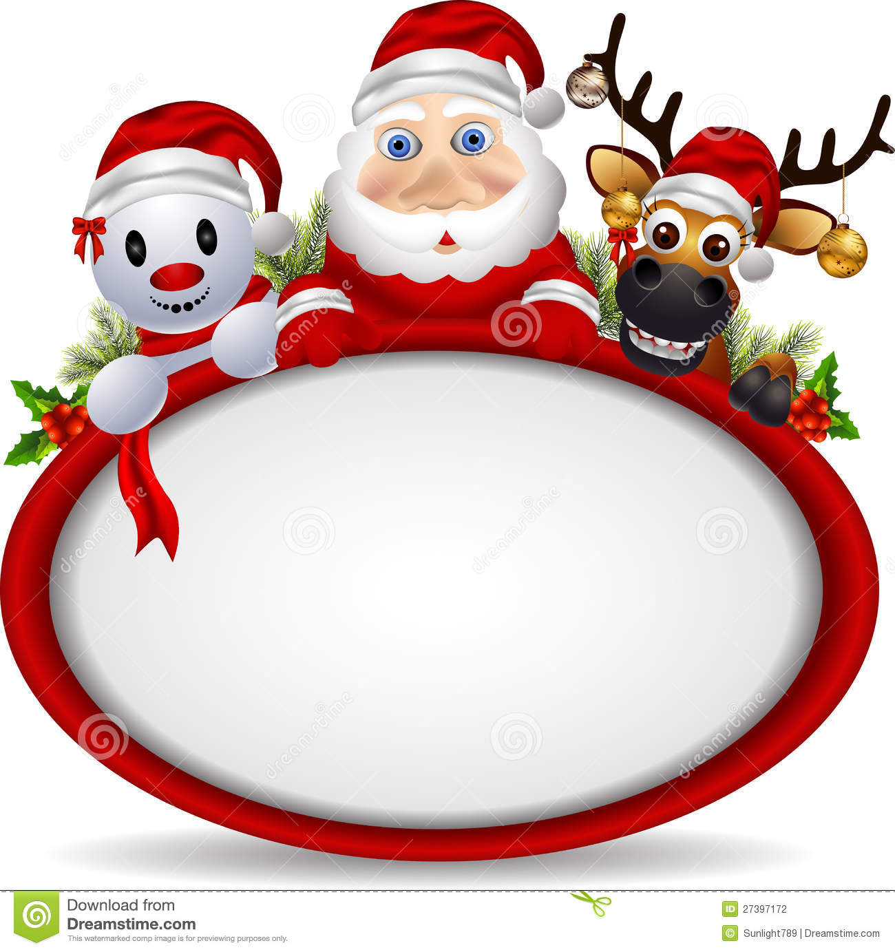 Vector illustration of santa claus ,deer and snowman with blank sign.