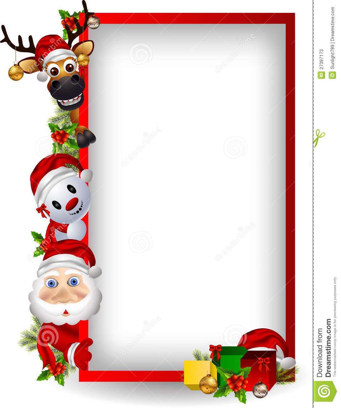 santa claus deer and snowman with blank sign stock photos