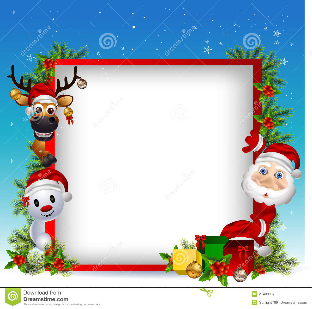 Santa Claus Deer And Snowman With Blank Sign Royalty Free