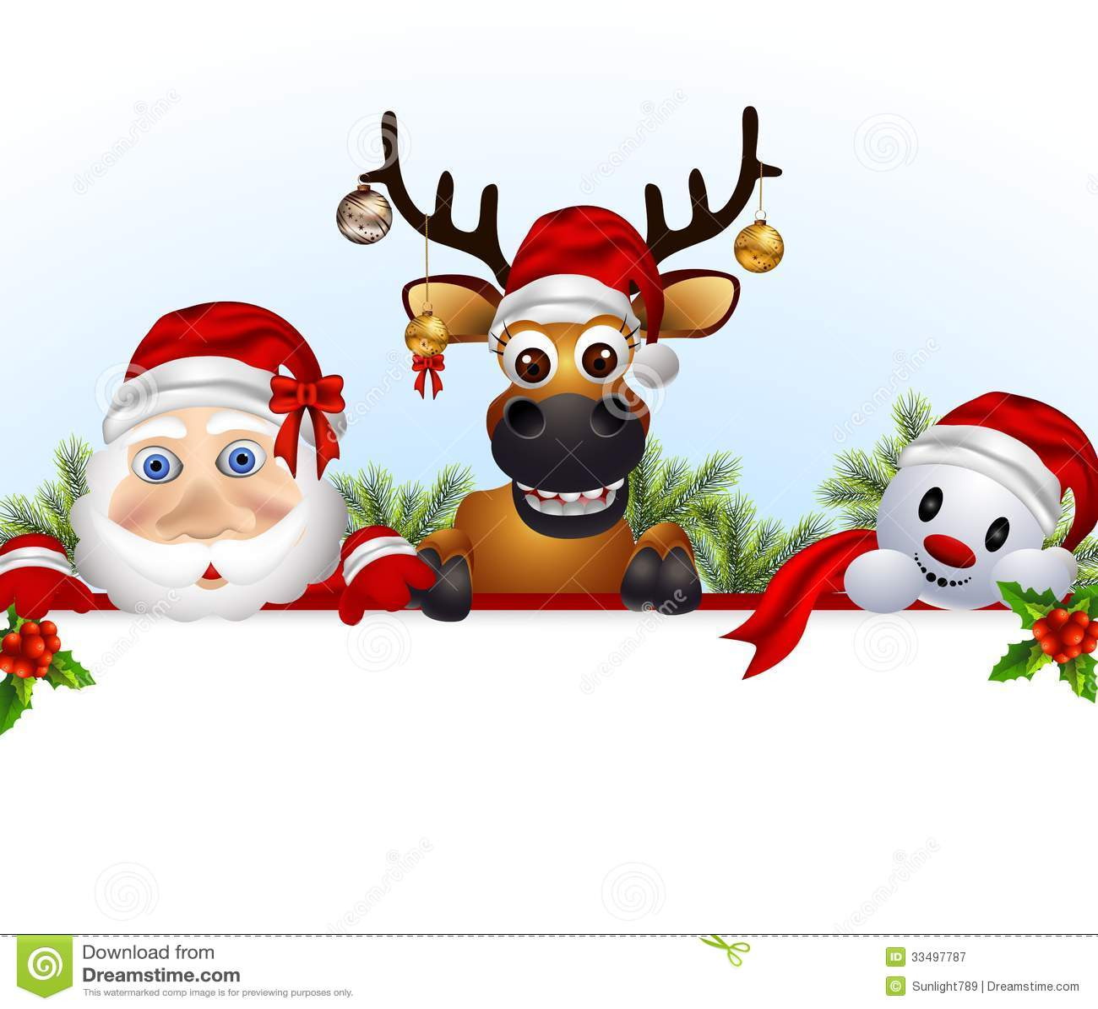 santa clausdeerand snowman cartoon with blank sign - Santa Snowman
