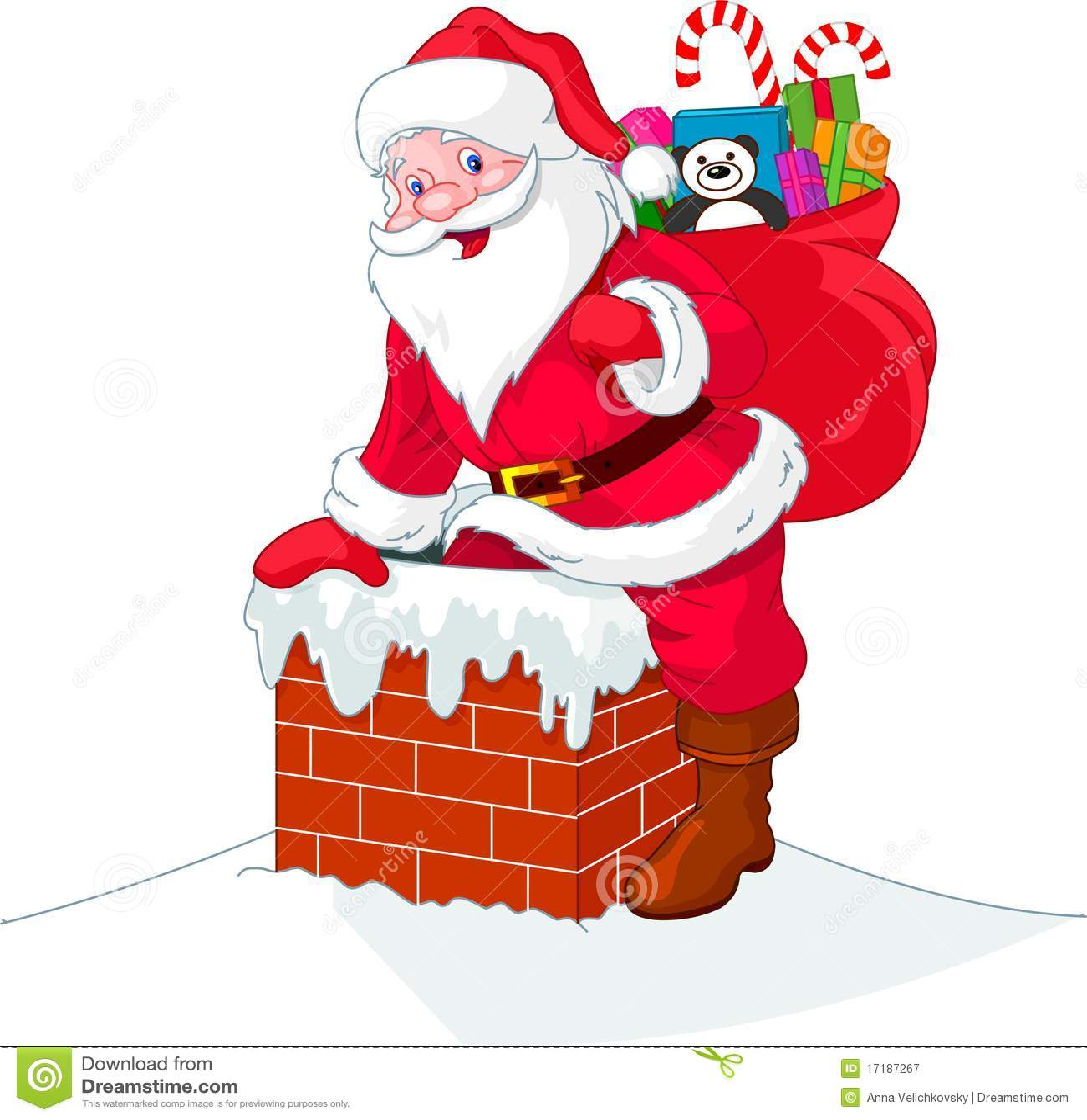 Santa Claus Descends The Chimney Stock Vector