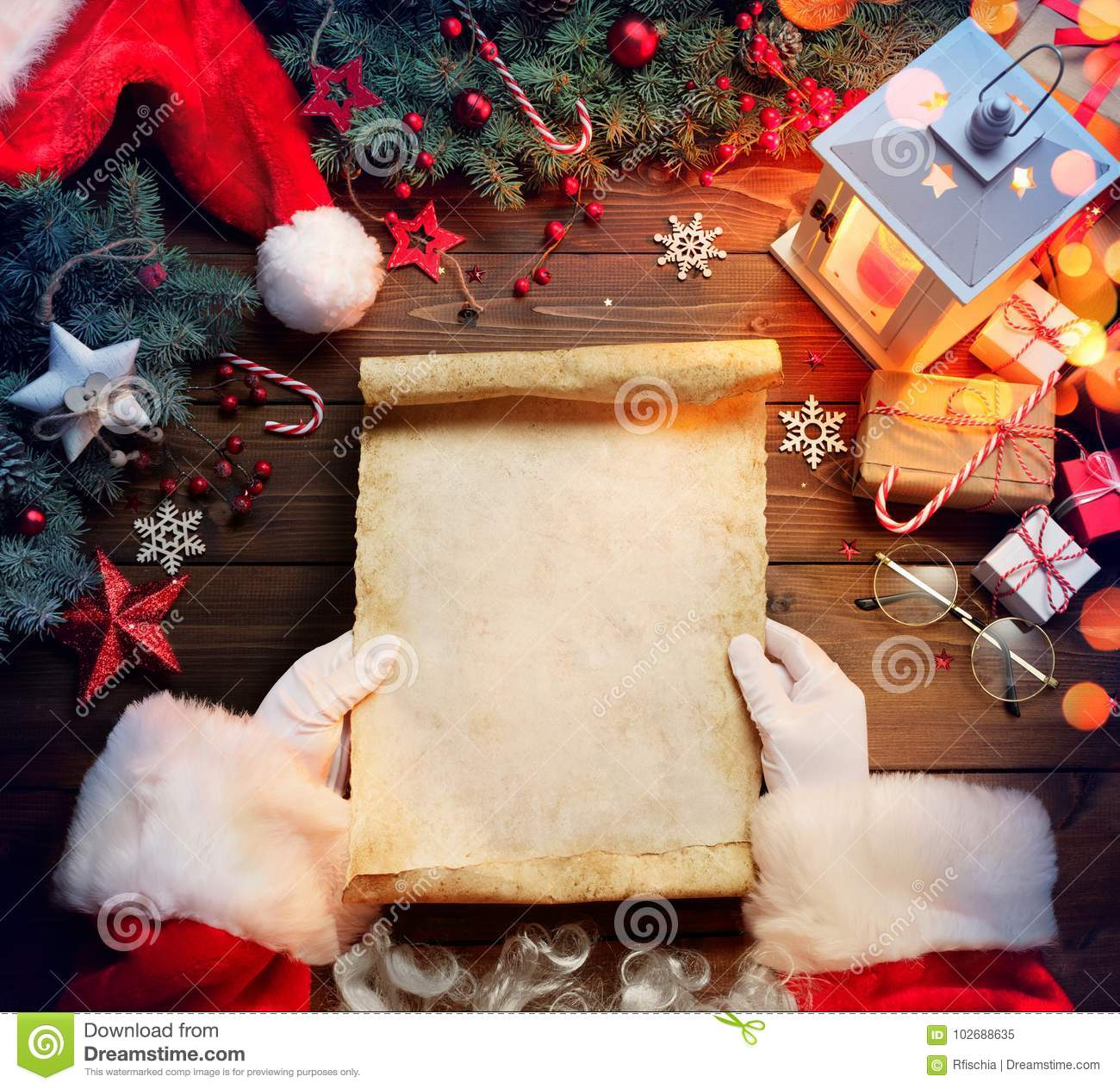 Santa Claus Desk Reading Wish List With Ornament Stock Image Image