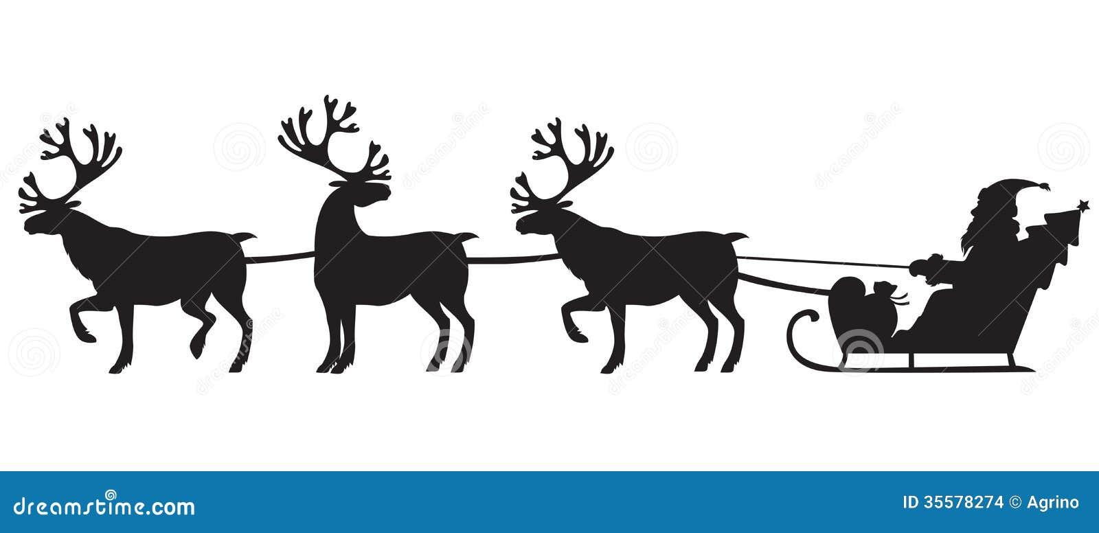 Santa Claus die een ar met rendieren berijden
