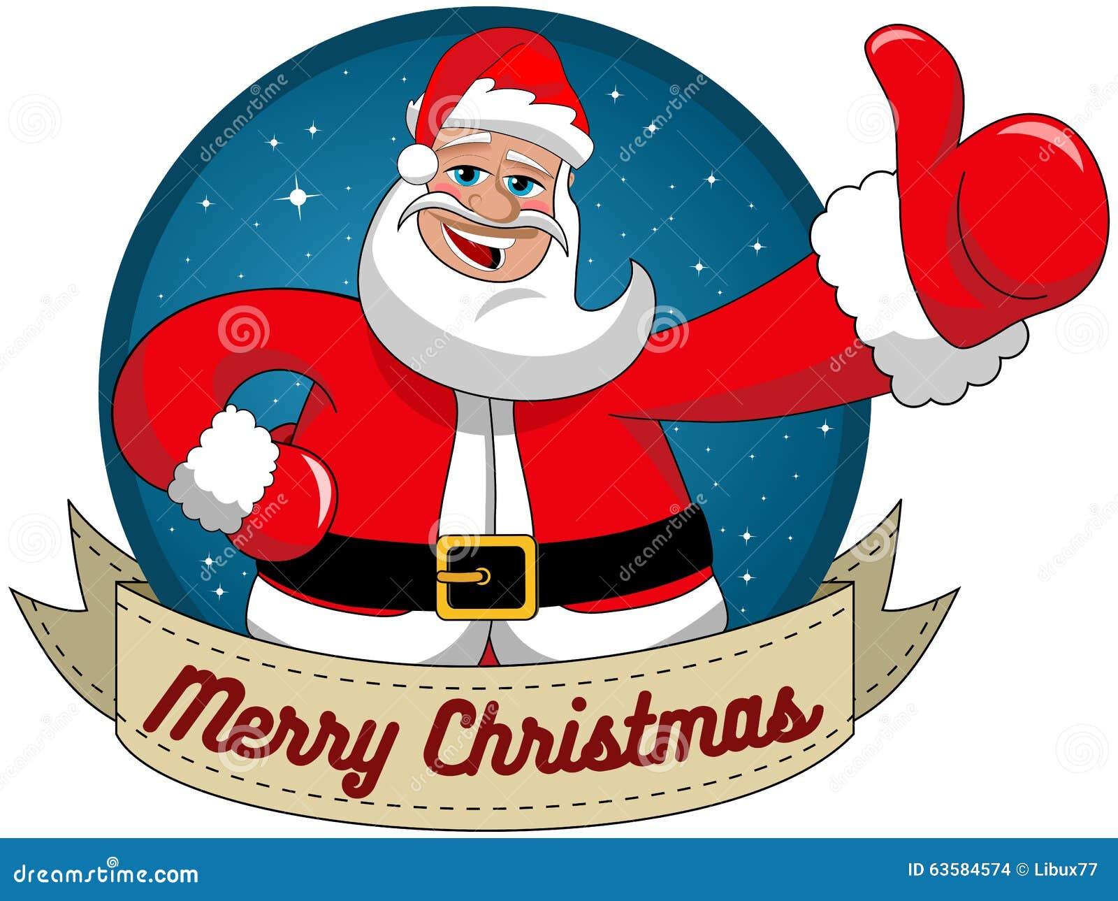 Santa Claus, Die Frohen Weihnachten Runden Rahmen Wünscht Vektor ...