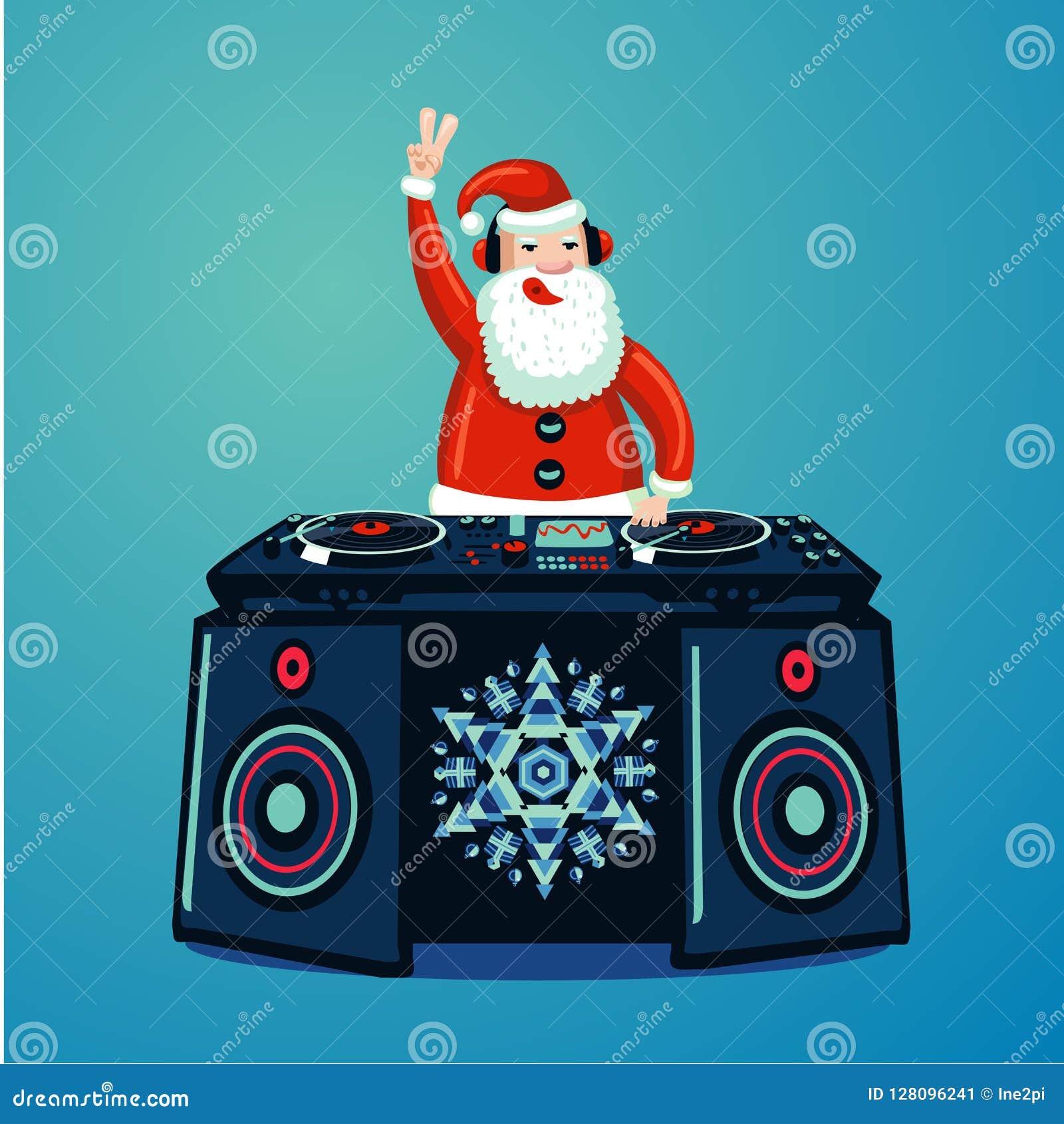 Santa Claus DJ con la piattaforma girevole del vinile Manifesto del partito di musica di Natale Manifestazione di musica del nigh