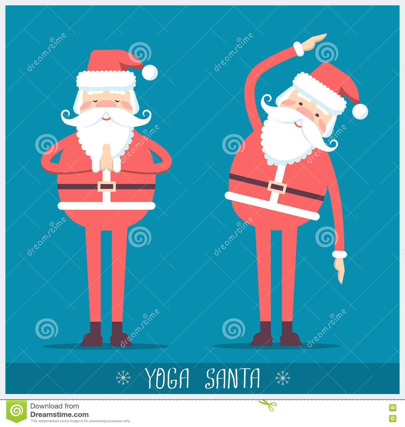 santa claus doing yogavector christmas card illustration