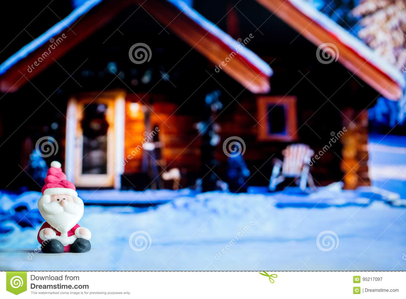 Santa Claus Doll In House Backgroundlorful Christmas Symbol