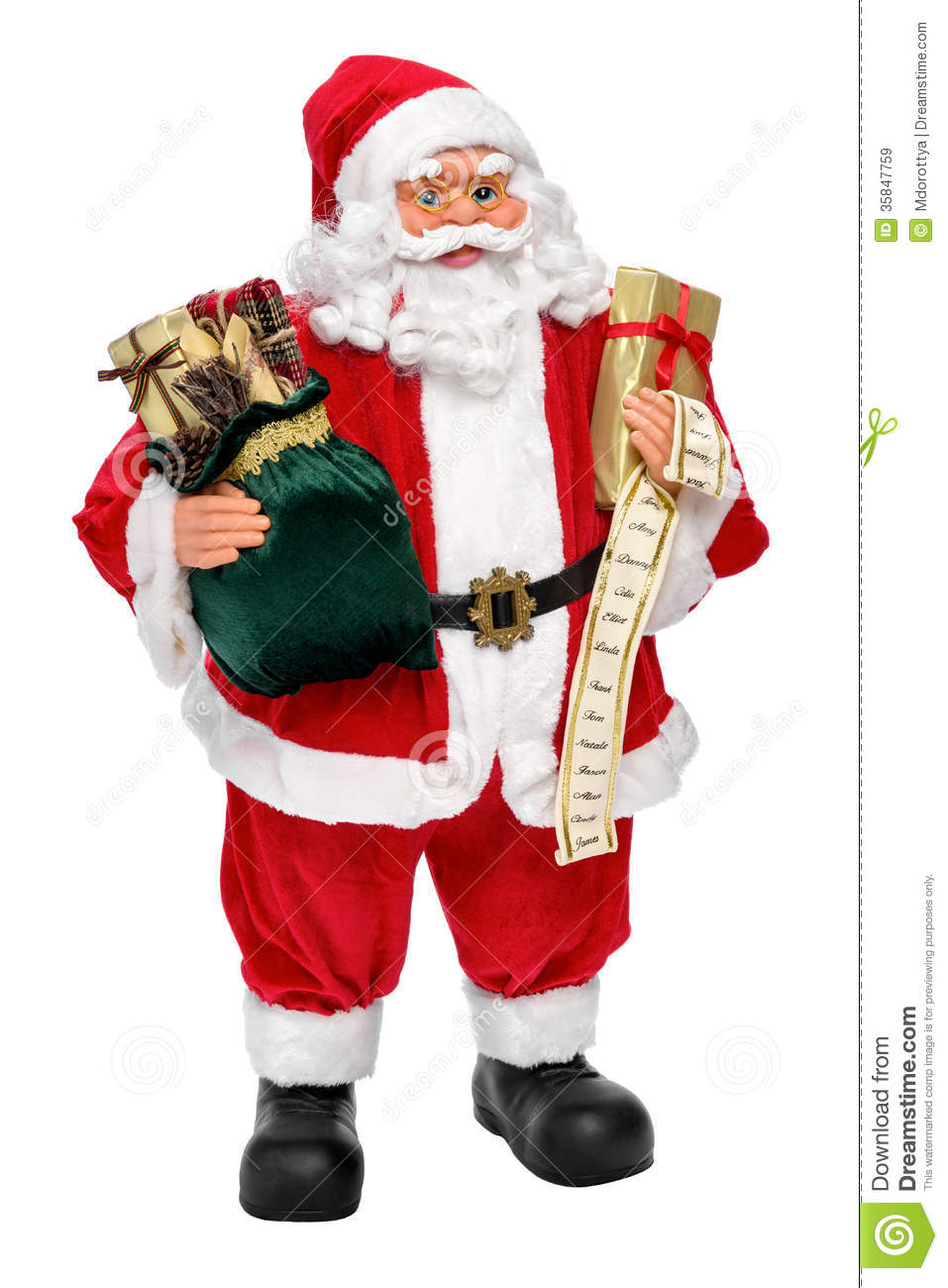 santa claus doll with presents and name list royalty free