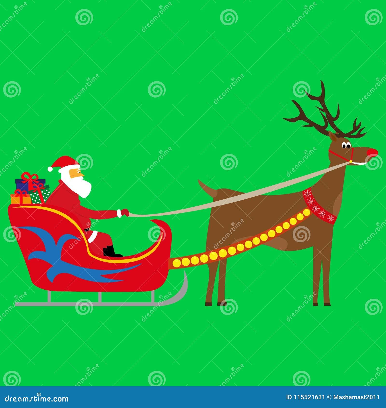 Santa Claus draagt giften in een ar