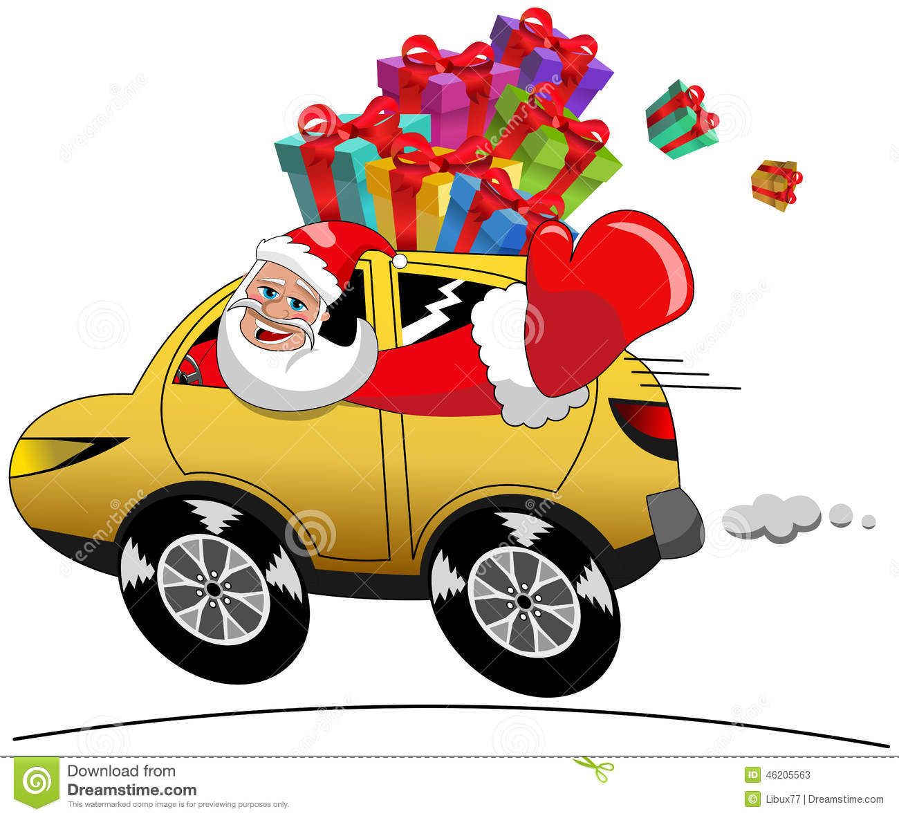 Santa Driving A Car Clipart