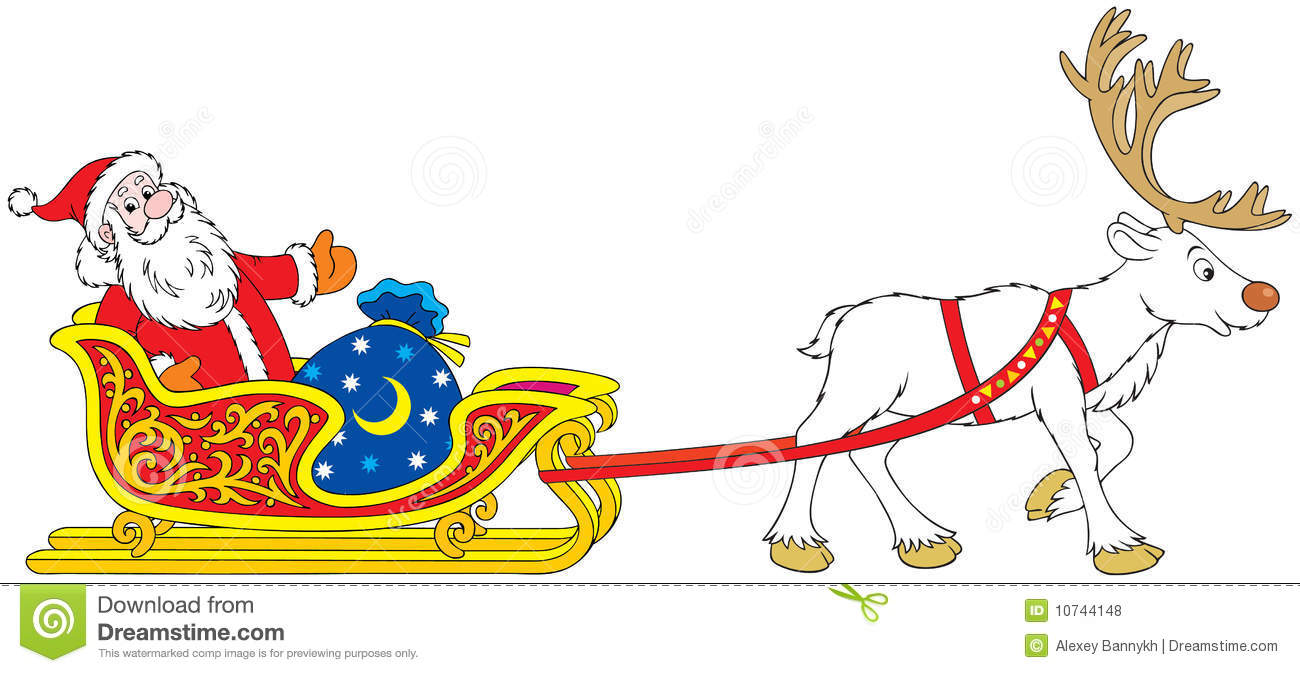 Santa Claus Driving In The Sleigh With Reindeer Royalty Free Stock ...