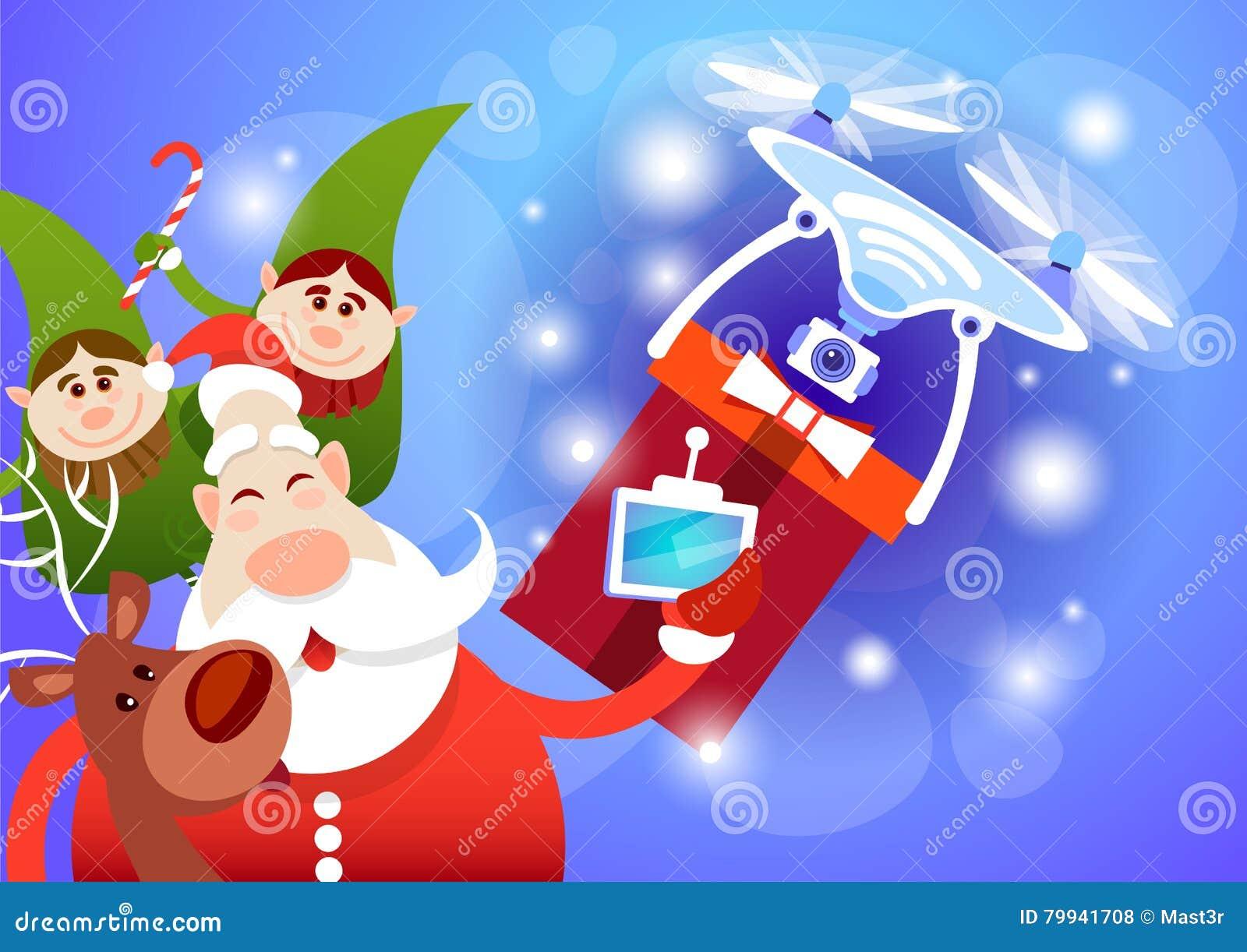 Santa Claus Drone Delivery Present ferie för glad jul för nytt år