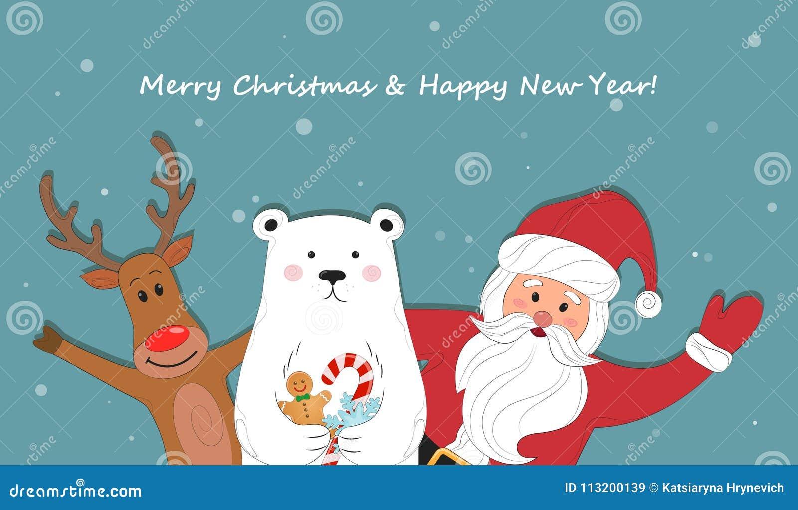 Babbo Natale Ho Ho Ho.Santa Claus E Fumetto Polare Della Renna Priorita Bassa Di Natale