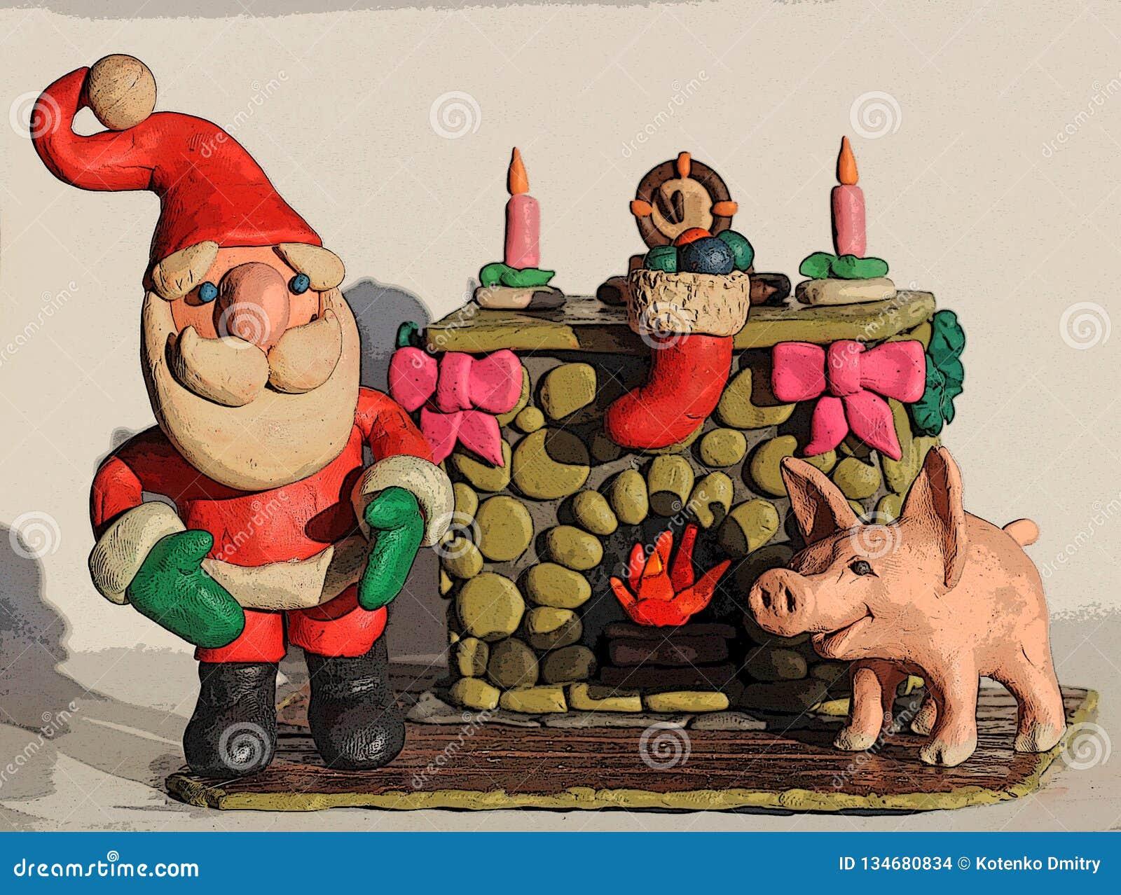 Santa Claus ed il maiale dal camino