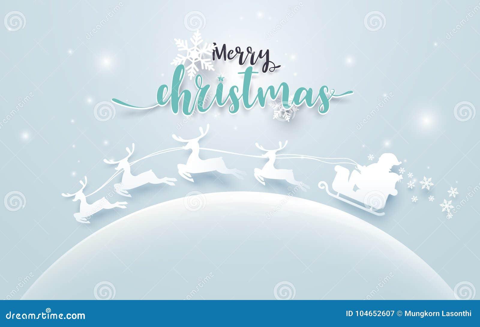 Santa Claus in een Slee en Rendier op maan met Vrolijke Kerstmisteksten op zachte blauwe achtergrond document kunststijl