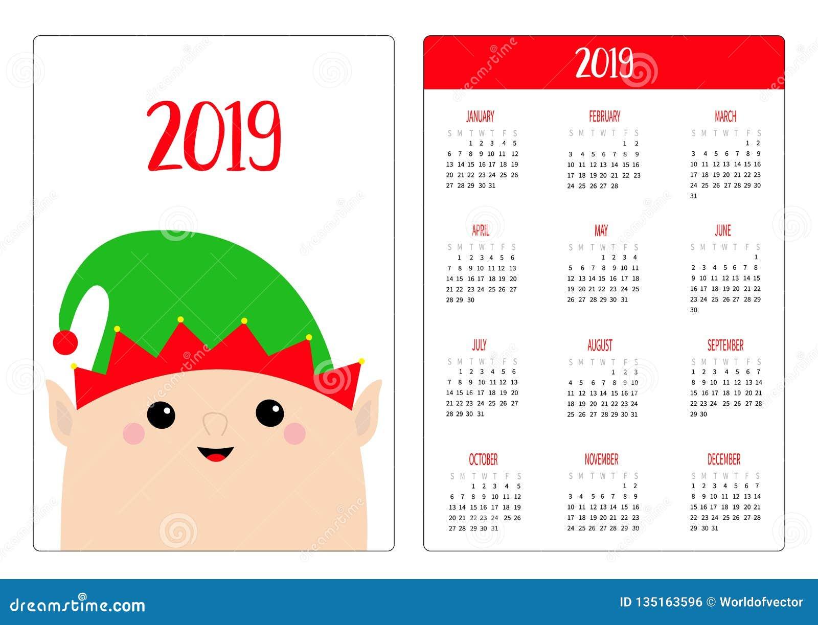 December Elf Calendar 2019 Santa Claus Elf Face Head. Simple Pocket Calendar Layout 2019 New
