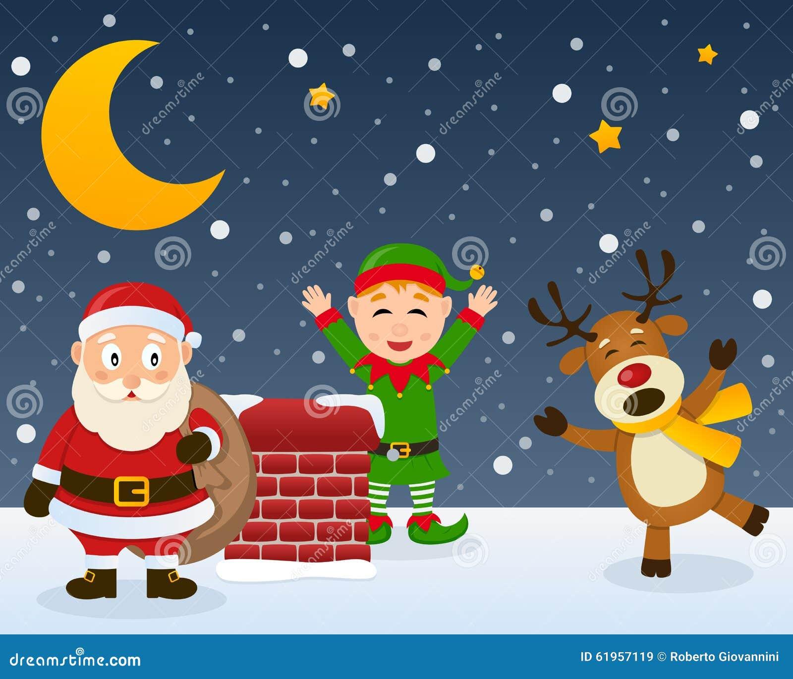 Santa Claus Elf och ren på ett tak