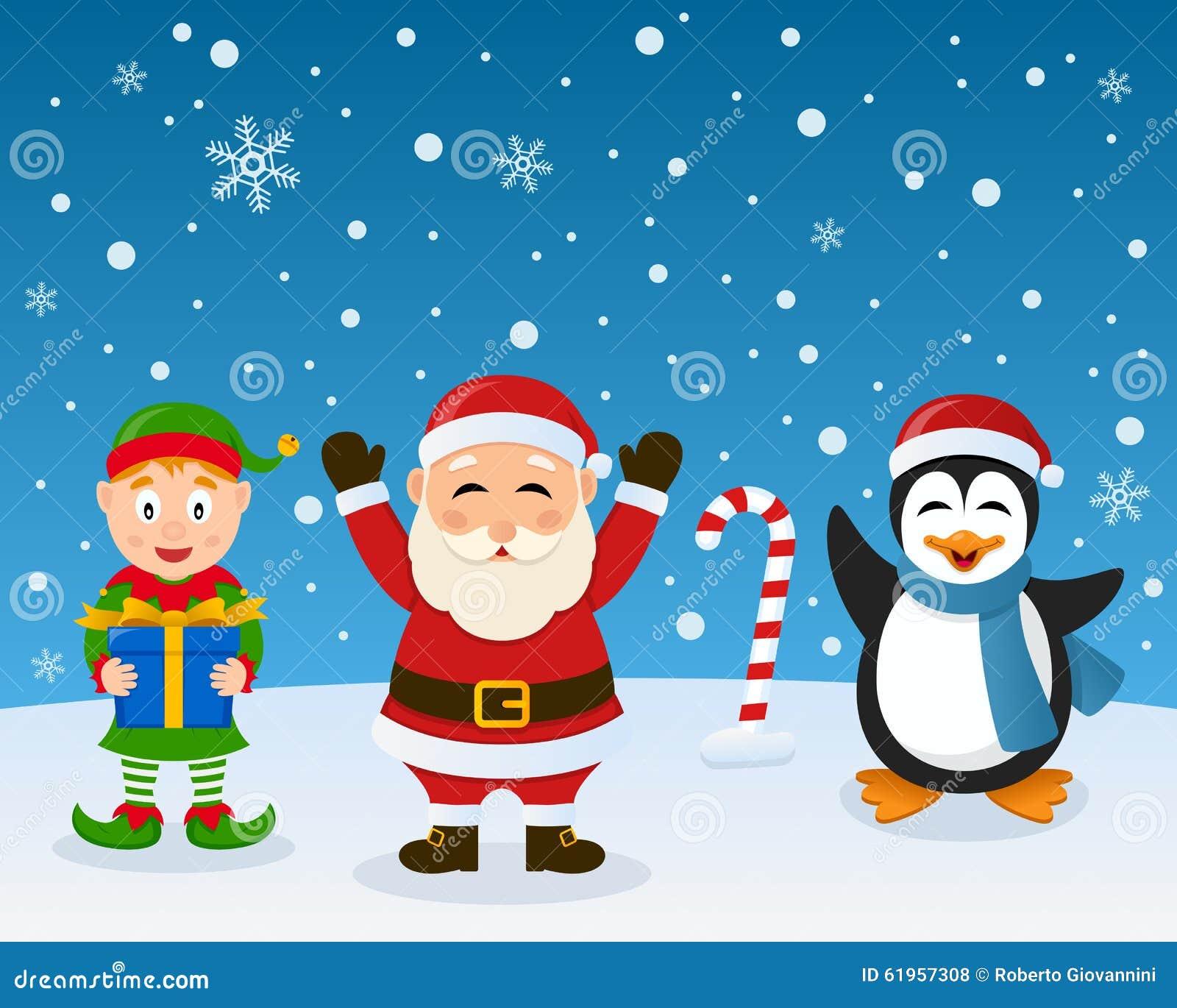 Santa Claus Elf Penguin på snön