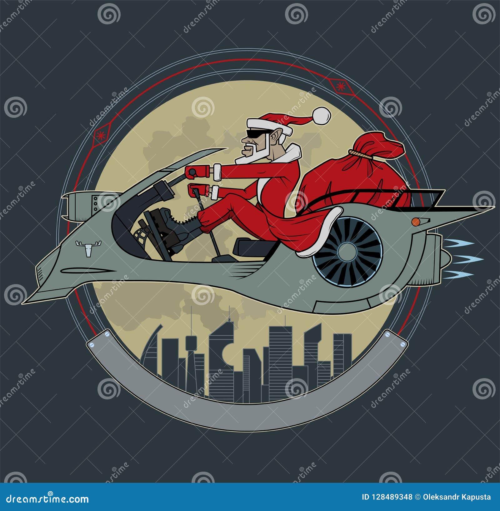 Santa Claus em um  trotinette  do espaço
